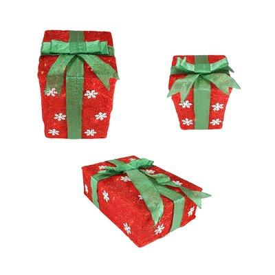 NorthlightSeasonal 3 Piece Snowflake Sisal Gift Box Lighted Christmas Decoration - Color: Red