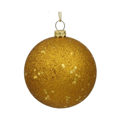 "Shatterproof Holographic Glitter Christmas Ball Ornament Size: 4"", Color: Vegas Gold"
