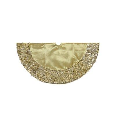 Satin Mini Christmas Tree Skirt with Metallic Trim Color: Gold