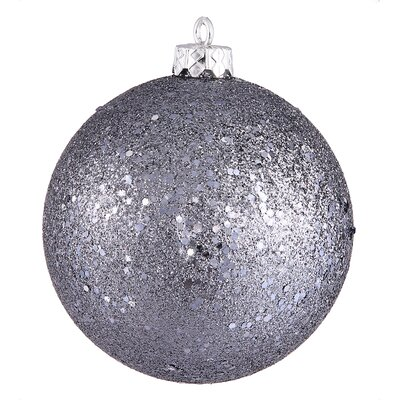 "Shatterproof Holographic Glitter Christmas Ball Ornament Size: 6"", Color: Pewter"