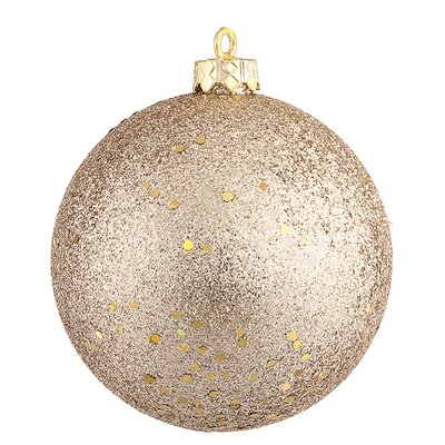 "Shatterproof Holographic Glitter Ball Christmas Ornament Size: 6"", Color: Gold Glamour"