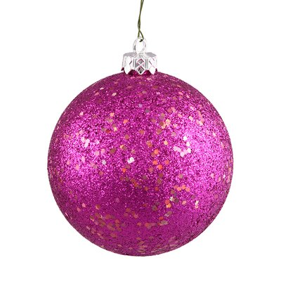 "Shatterproof Holographic Glitter Christmas Ball Ornament Size: 4"", Color: Magenta/Pink"