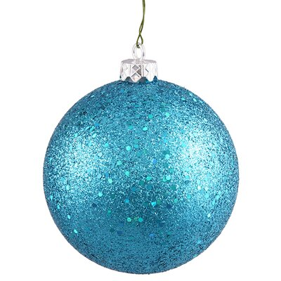 "Shatterproof Holographic Glitter Christmas Ball Ornament Size: 4"", Color: Turquoise Blue"