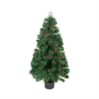 4' Color Changing Fiber Optic Christmas Tree with Red Berries