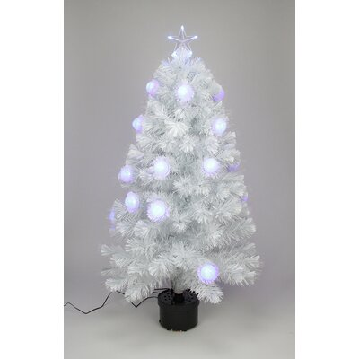 4' White Iridescent Fiber Optic Artificial Christmas Tree
