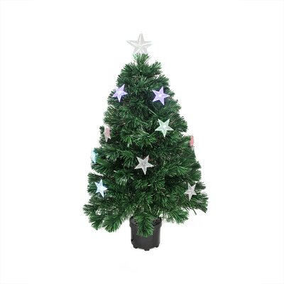 3' Color Changing Fiber Optic Christmas Tree with LED Light Stars
