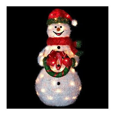 Sparkling Tinsel and Sisal Snowman Christmas Decoration