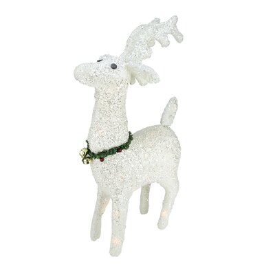 Lighted White Plush Glittered Reindeer Christmas Decoration