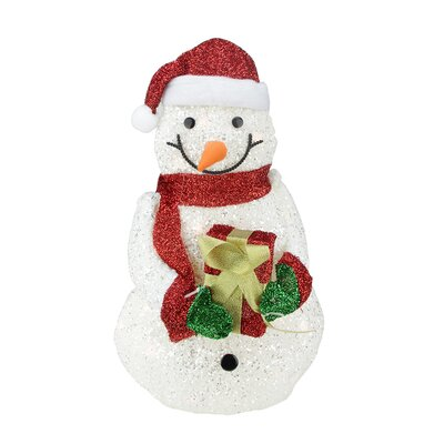 Lighted White Plush Glittered Snowman with Tinsel Gift Christmas Yard Art Decoration