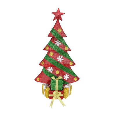 Tinsel Decorated Christmas Tree with Gifts Christmas Decoration
