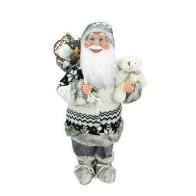 Cheerful Standing Santa Claus Christmas Figure with Teddy Bear and Presents C84425