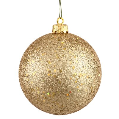 "Shatterproof Holographic Glitter Christmas Ball Ornament Size: 4"", Color: Champagne"