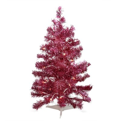 2' Pink Passion Iridescent Pine Artificial Tinsel Christmas Tree with Clear Lights