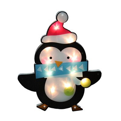 Lighted Shimmering Penguin with Santa Hat Christmas Window Silhouette Decoration