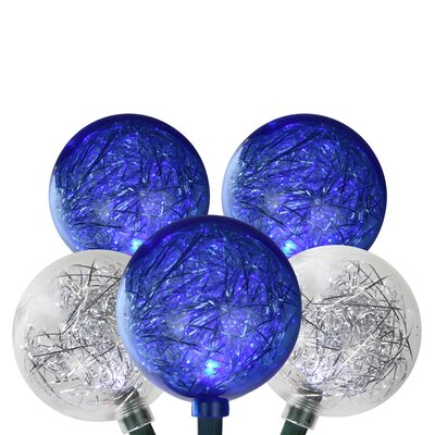 LED Ornament with Tinsel Christmas Light Color: Pure White/Blue
