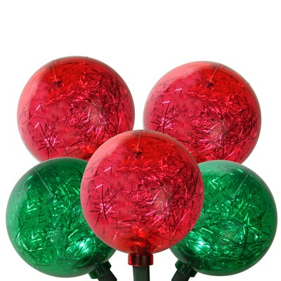 LED Ornament with Tinsel Christmas Light Color: Red/Green