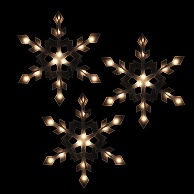 Lighted Snowflake Icicle Christmas Light (Pack of 3)