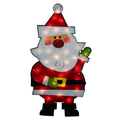Standing Tinsel Santa Claus Lighted Christmas Decoration
