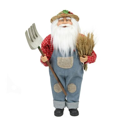 Country Heritage Santa Claus Holding a Sheaf of Wheat Christmas Decoration