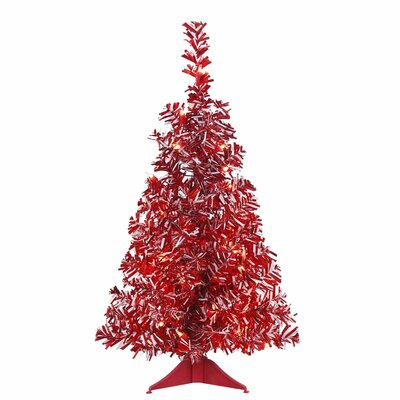 2' Candy Cane Artificial Wide Cut Tinsel Christmas Tree with Unlit