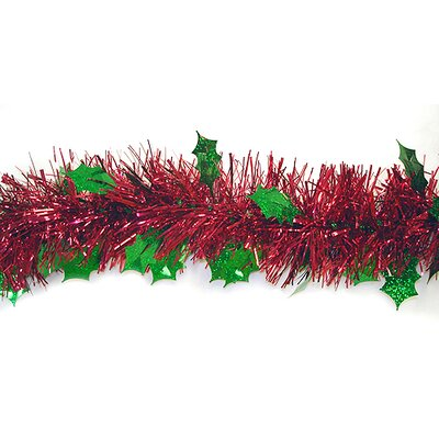 Christmas Tinsel Garland Holographic Holly with Unlit