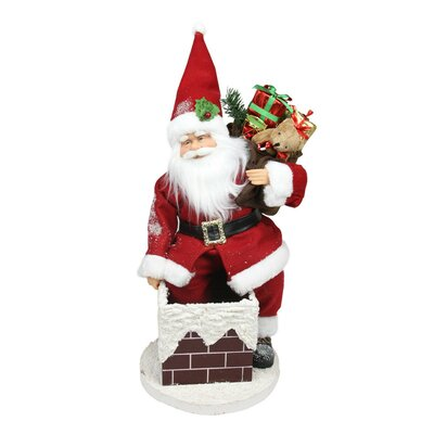 Animated Santa Claus Going Down a Chimney with Gifts Christmas Decoration
