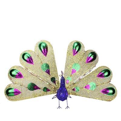 Pre-Lit Twinkling LED Glittered Elegant Peacock Christmas Yard Art Decoration