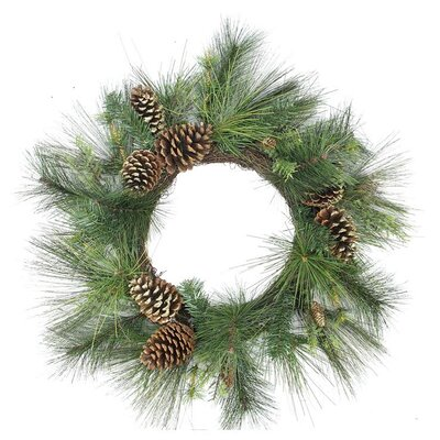 Artificial Mixed Pine with Pine Cones and Glitter Christmas Wreath with Unlit