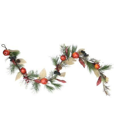 Autumn Harvest Mixed Pine Berry and Nut Thanksgiving Fall Garland with Unlit