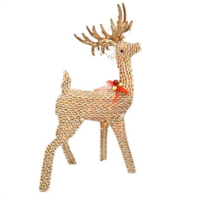 Pre-Lit Striped Chenille Reindeer Christmas Decoration