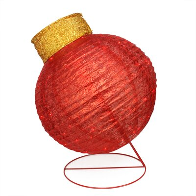 Pre-Lit Twinkling LED Glitter Ornament Christmas Yard Art Decoration Color: Red