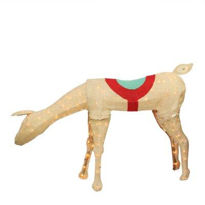 Pre-Lit Burlap Feeding Reindeer Christmas Decoration