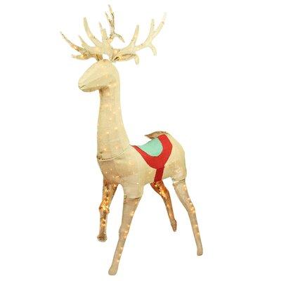 Pre-Lit Burlap Standing Reindeer Christmas Decoration