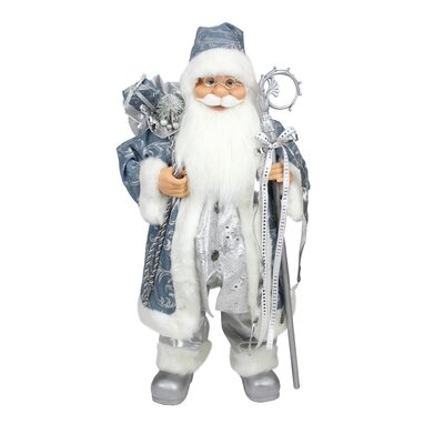 Ice Palace Standing Santa Claus Holding a Staff and Bag Christmas Figure NORTHLIGHT E86136