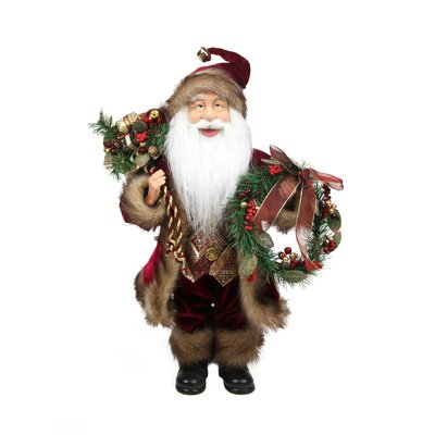 Country Cabin Santa Claus Holding a Wreath and Gift Bag Christmas Figure NORTHLIGHT E86348
