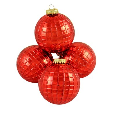 Disco Ball Shatterproof Christmas Ball Ornament Color: Red
