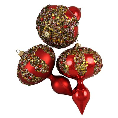 Glitter Sequin Beaded Shatterproof Christmas Finial Ornament Color: Red