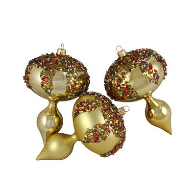 Glitter Sequin Beaded Shatterproof Christmas Finial Ornament Color: Gold