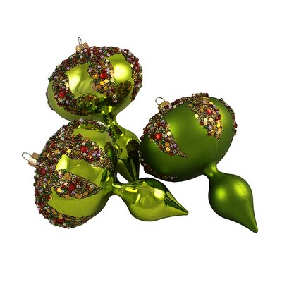 Glitter Sequin Beaded Shatterproof Christmas Finial Ornament Color: Lime Green