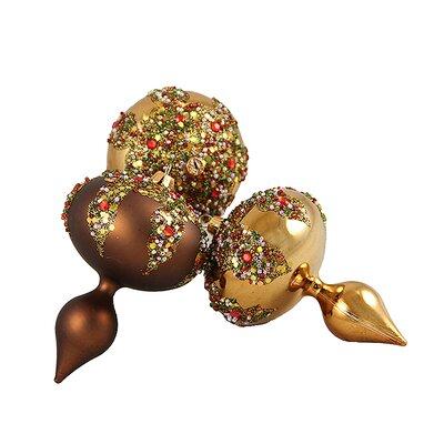 Glitter Sequin Beaded Shatterproof Christmas Finial Ornament Color: Mocha Brown