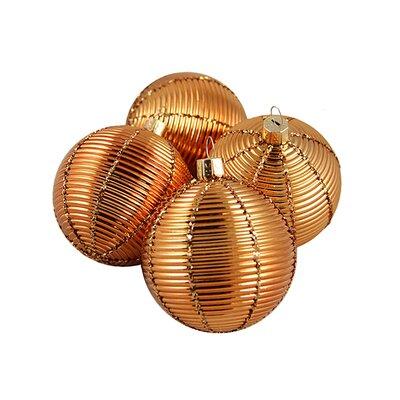 Ribbed Shatterproof Christmas Ball Ornament Color: Orange