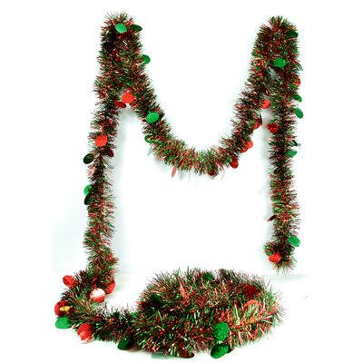 Christmas Tinsel Garland with Holographic Polka Dots with Unlit