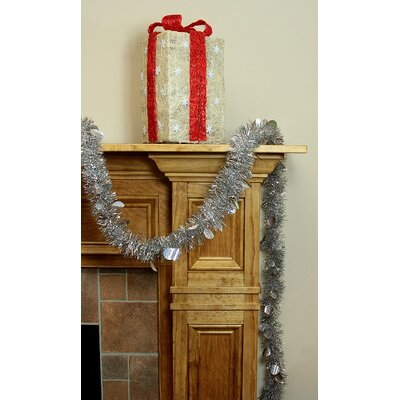 Christmas Tinsel Garland with Holographic Polka Dots with Unlit Color: Silver