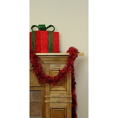 Christmas Tinsel Garland with Holographic Polka Dots with Unlit Color: Red
