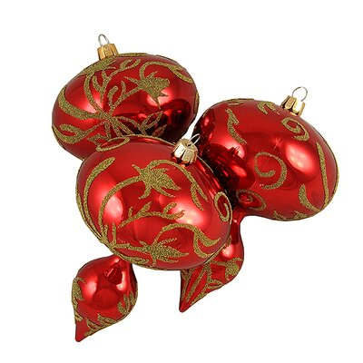 Glitter Sequin Beaded Shatterproof Christmas Finial Ornament Color: Red/Gold