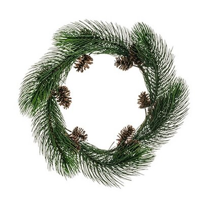 Long Pine Needle Artificial Christmas Wreath With Pine Cones Unlit image