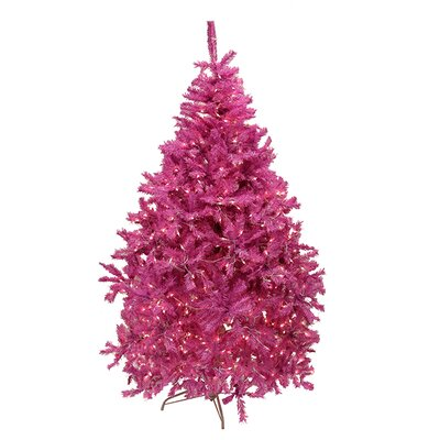 6.5' Orchid Pink Cedar Pine Artificial Christmas Tree with Clear Light