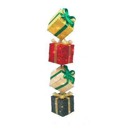 Lighted Sisal Gift Box Tower