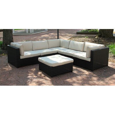 Outdoor Furniture Sectional Sofa Set with Cushions Fabric: Beige