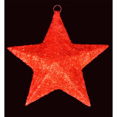 Sisal Hanging Christmas Star Yard Art or Window Decoration Color: Red